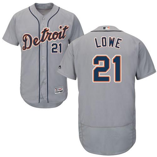 Tigers 21 Mark Lowe Gray Flexbase Jersey