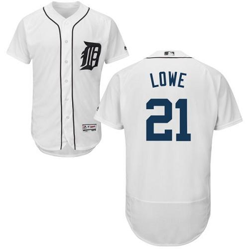 Tigers 21 Mark Lowe White Flexbase Jersey