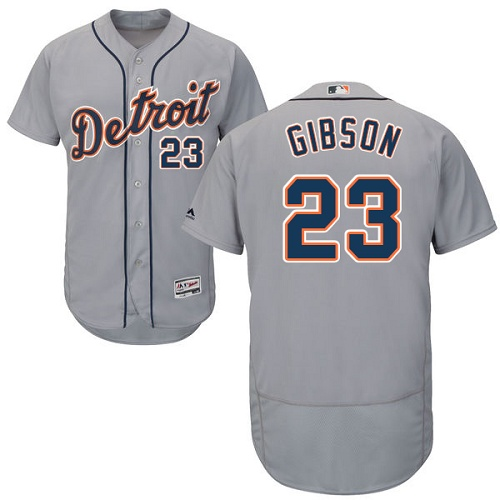 Tigers 23 Kirk Gibson Gray Flexbase Jersey