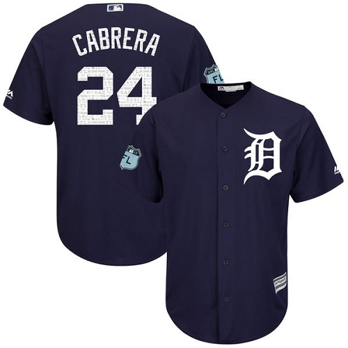 Tigers 24 Miguel Cabrera Navy 2017 Spring Training Cool Base Jersey