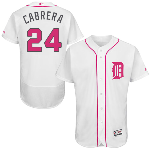 Tigers 24 Miguel Cabrera White Mother's Day Flexbase Jersey