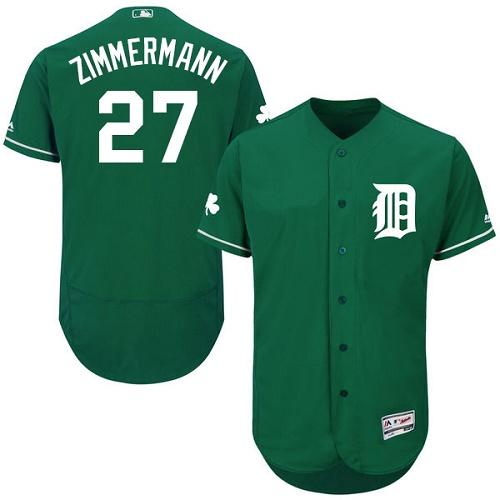 Tigers 27 Jordan Zimmermann Green Celtic Flexbase Jersey