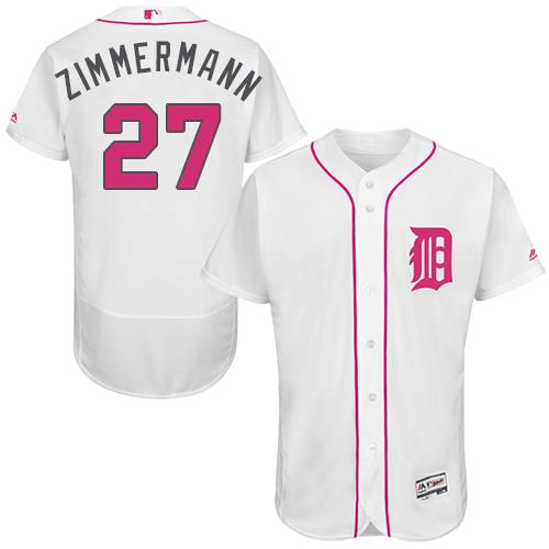 Tigers 27 Jordan Zimmermann White Mother's Day Flexbase Jersey