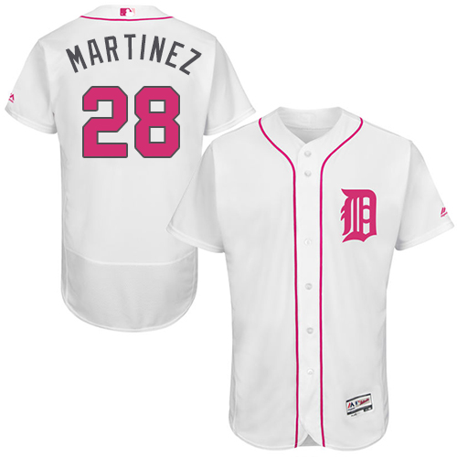 Tigers 28 J.D. Martinez White Mother's Day Flexbase Jersey