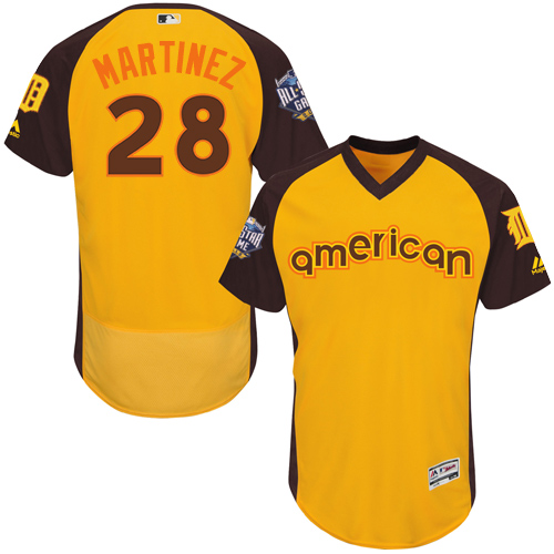 Tigers 28 J.D. Martinez Yellow 2016 MLB All Star Game Flexbase Batting Practice Player Jersey