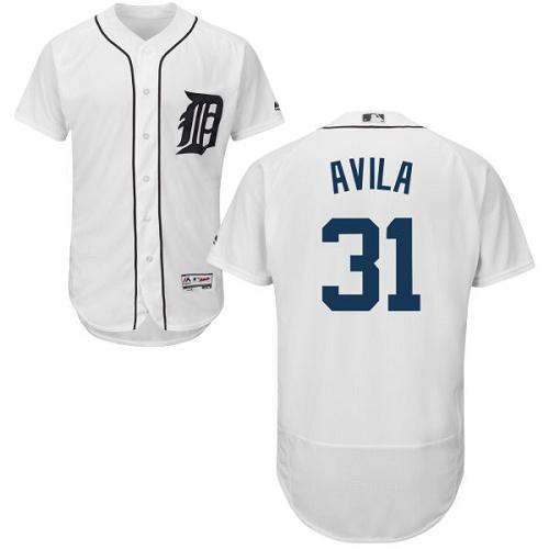 Tigers 31 Alex Avila White Flexbase Jersey