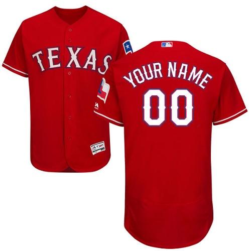 Texas Rangers Red Men's Customized Flexbase Jersey
