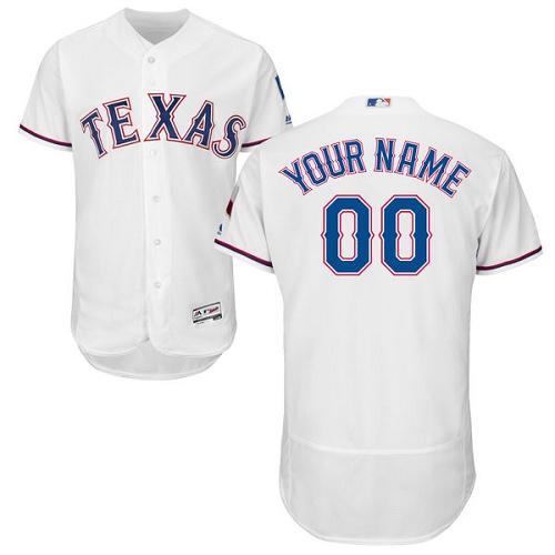 Texas Rangers White Men's Customized Flexbase Jersey
