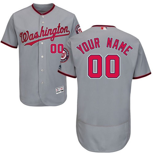 Washington Nationals Gray Men's Customized Flexbase Jersey