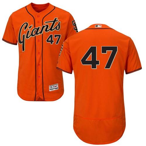 Giants 47 Johnny Cueto Orange Flexbase Jersey