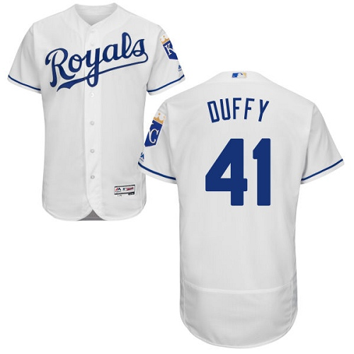 Royals 41 Danny Duffy White Flexbase Jersey