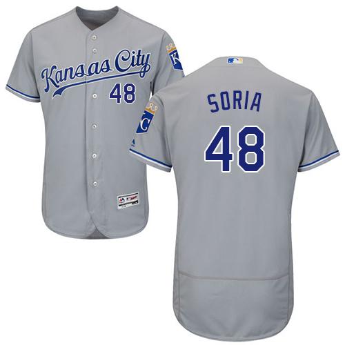 Royals 48 Joakim Soria Gray Flexbase Jersey