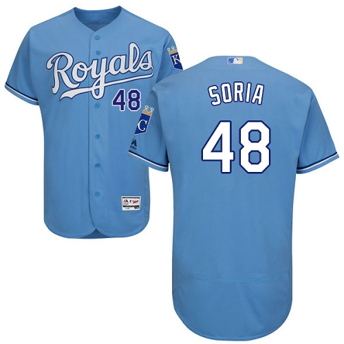 Royals 48 Joakim Soria Light Blue Flexbase Jersey