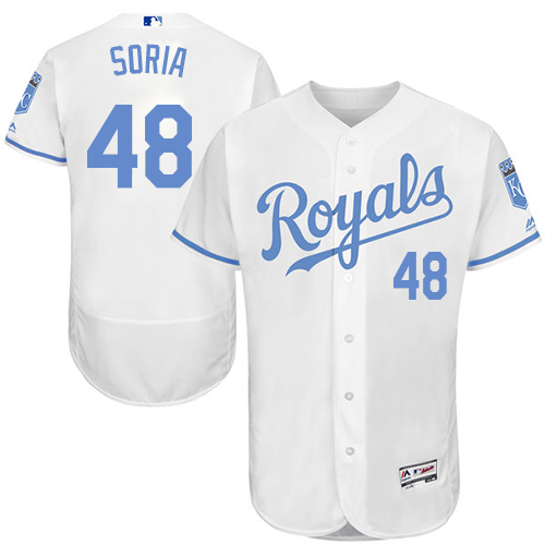 Royals 48 Joakim Soria White Father's Day Flexbase Jersey
