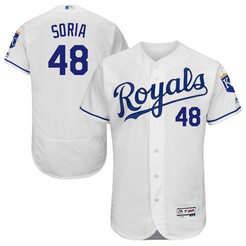 Royals 48 Joakim Soria White Flexbase Jersey