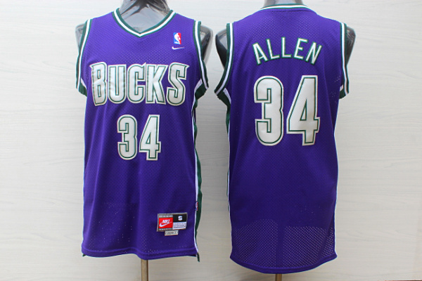 Bucks 34 Ray Allen Purple Nike Jersey