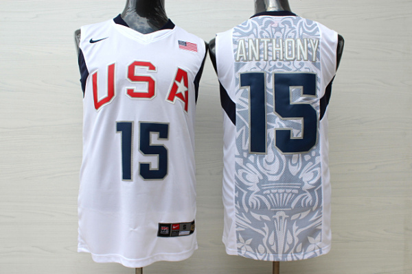 Team USA Basketball 15 Carmelo Anthony White Nike Stitched Jersey