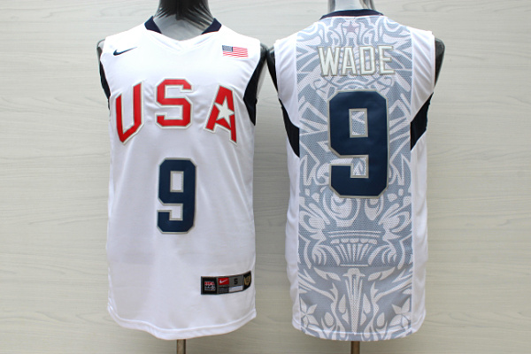 Team USA Basketball 9 Dwyane Wade White Nike Stitched Jersey
