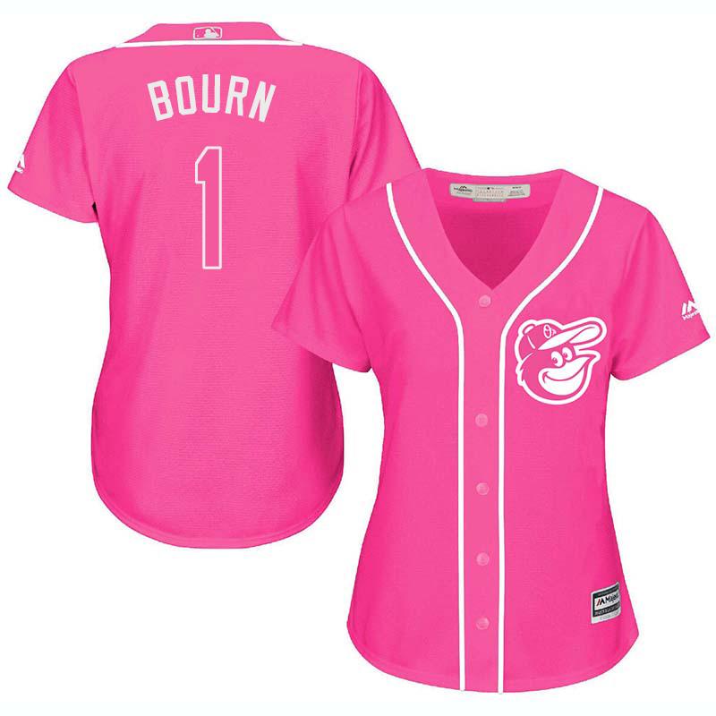 Orioles 1 Michael Bourn Pink Women Cool Base Jersey