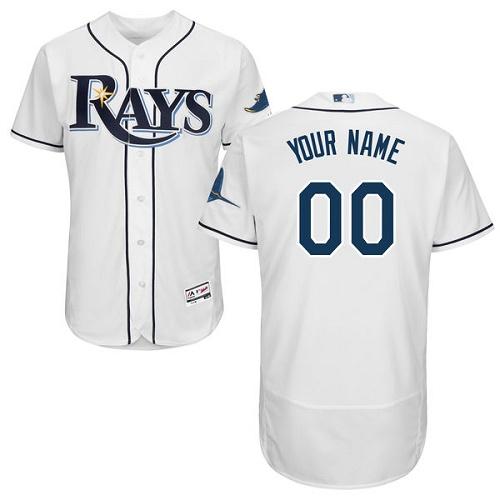 Tampa Bay Rays White Men's Customized Flexbase Jersey