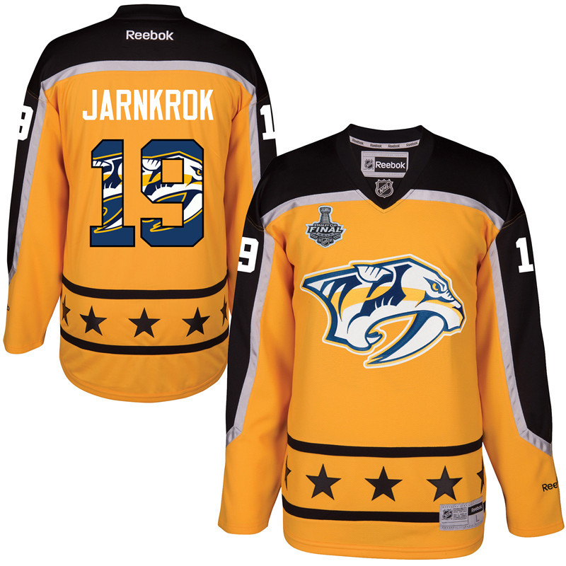 Predators 19 Calle Jarnkrok Gold 2017 Stanley Cup Final Team Logo Print Reebok Jersey
