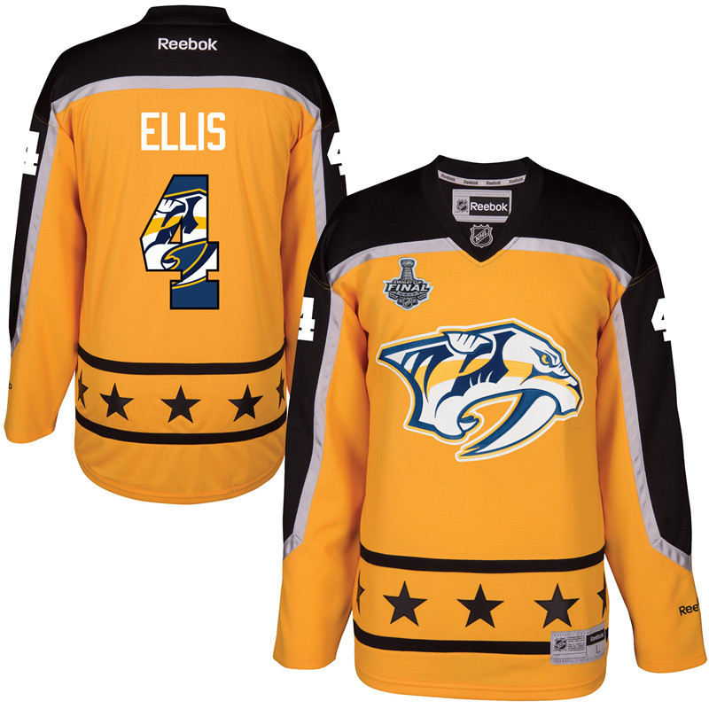 Predators 4 Ryan Ellis Gold 2017 Stanley Cup Final Team Logo Print Reebok Jersey