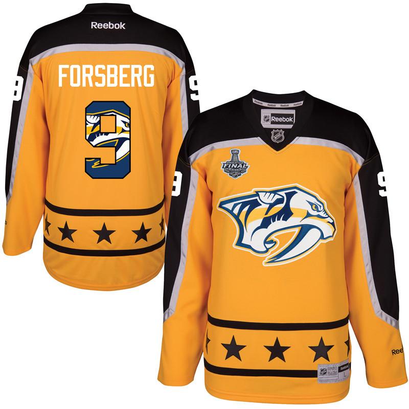 Predators 9 Filip Forsberg Gold 2017 Stanley Cup Final Team Logo Print Reebok Jersey