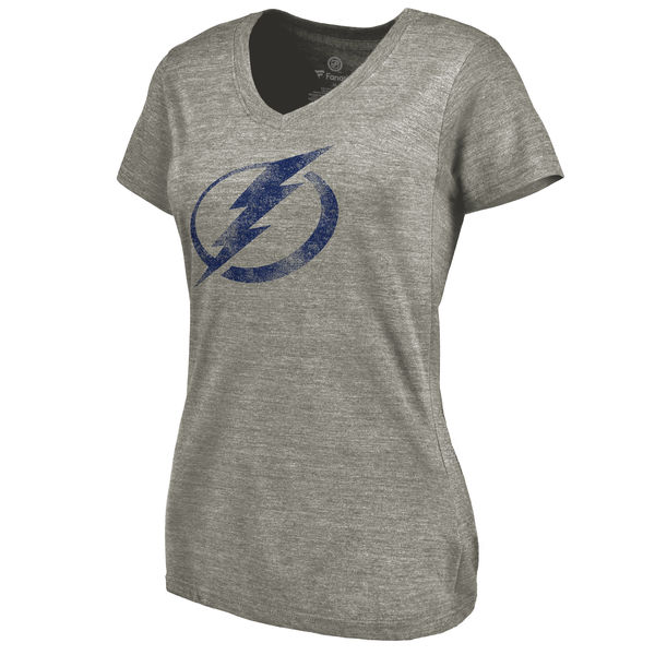 Tampa Bay Lightning Women's Distressed Team Logo Tri Blend V Neck T-Shirt Ash