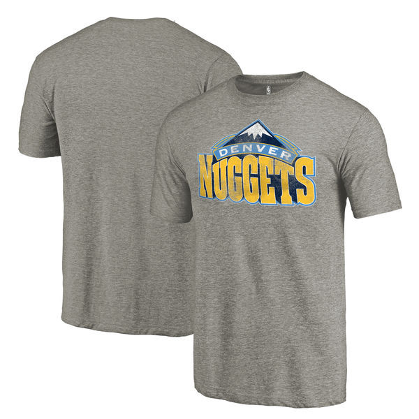 Denver Nuggets Distressed Team Logo Gray Men's T-Shirt