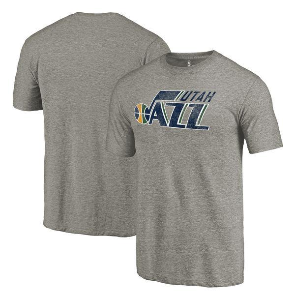 Utah Jazz Distressed Team Logo Gray Men's T-Shirt