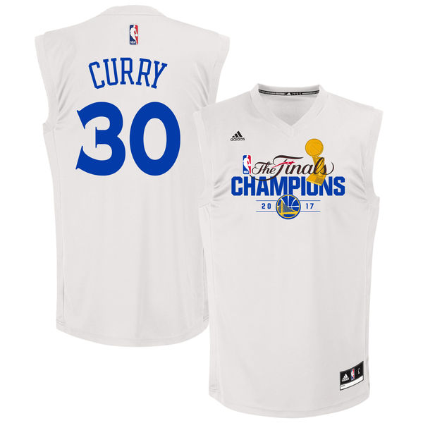 Warriors 30 Stephen Curry White 2017 NBA Champions Replica Jersey