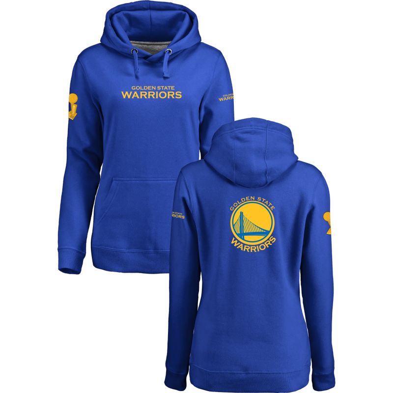 Golden State Warriors 2017 NBA Champions Royal Women's Pullover Hoodie3