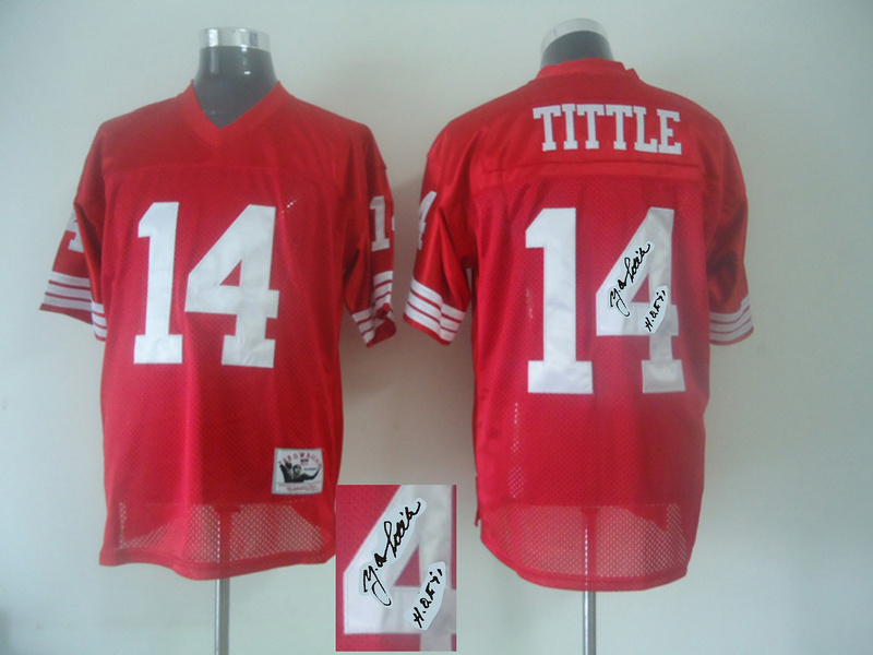 49ers 14 Y.A. Tittle Red Signature Edition M & N Jersey