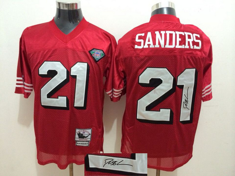 49ers 21 Deion Sanders Red With 75th Anniversary Patch Signature Edition M & N Jersey