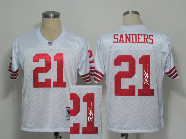 49ers 21 Deion Sanders White Signature Edition M & N Jersey