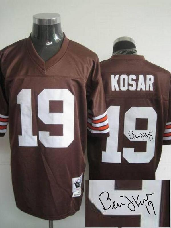 Browns 19 Bernie Kosar Brown Signature Edition M & N Jersey
