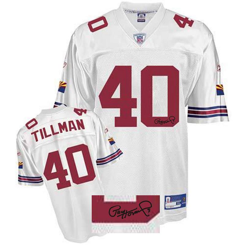 Cardinals 40 Pat Tillman White Signature Edition M & N Jersey