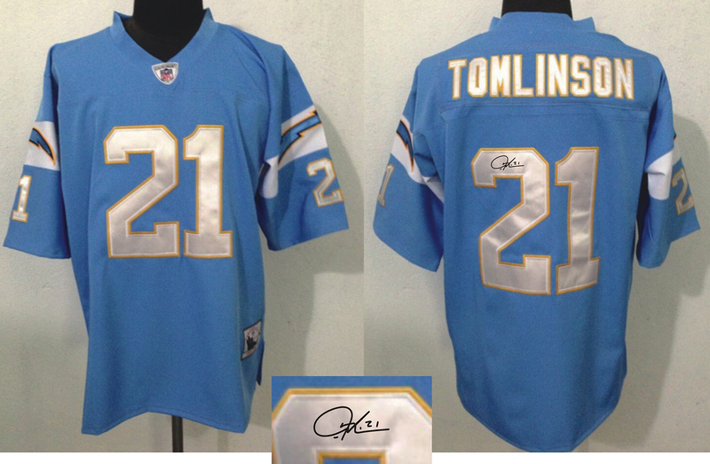 Chargers 21 LaDainian Tomlinson Light Blue Signature Edition M & N Jersey