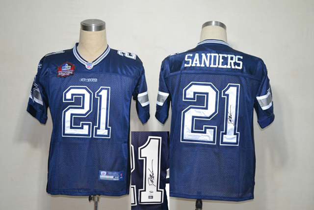 Cowboys 21 Deion Sanders Navy Signature Edition M & N Jersey