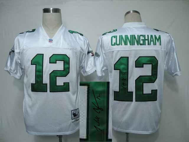 Eagles 12 Randall Cunningham White Signature Edition M & N Jersey