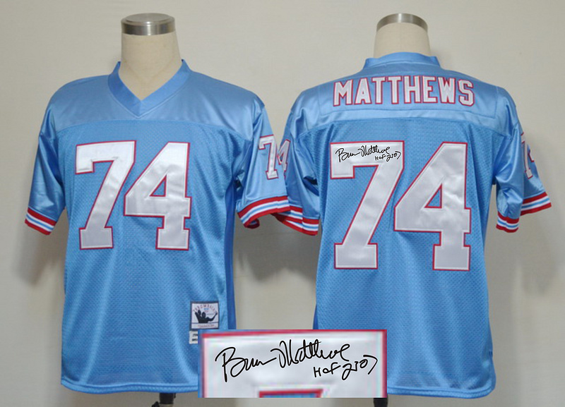 Titans 74 Bruce Matthews Blue Signature Edition M & N Jersey