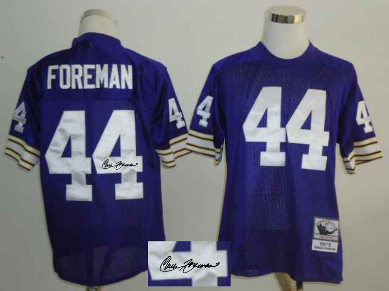 Vikings 44 Chuck Foreman Purple Signature Edition M & N Jersey