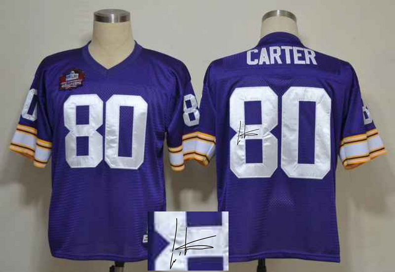 Vikings 80 Cris Cater Purple Signature Edition M & N Jersey