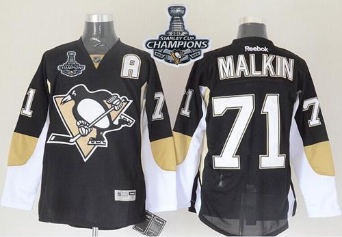 Penguins 71 Evgeni Malkin Black 2017 Stanley Cup Finals Champions Reebok Jersey