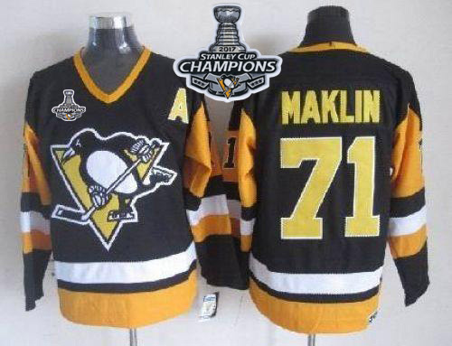 Penguins 71 Evgeni Malkin Black CCM Throwback 2017 Stanley Cup Finals Champions Stitched NHL Jersey