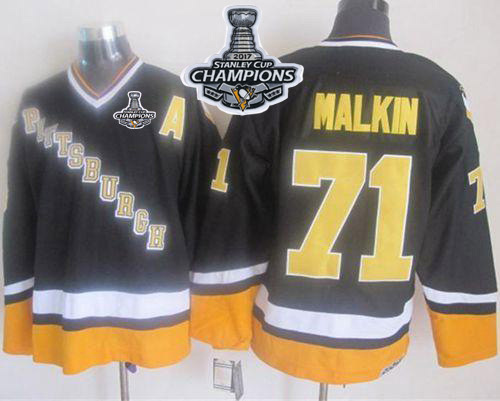 Penguins 71 Evgeni Malkin Black Yellow CCM Throwback 2017 Stanley Cup Finals Champions Stitched Reebok Jersey
