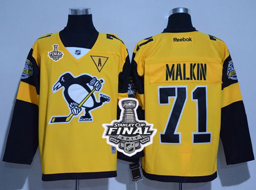Penguins 71 Evgeni Malkin Gold 2017 Stadium Series Stanley Cup Finals Champions Stitched Reebok Jersey
