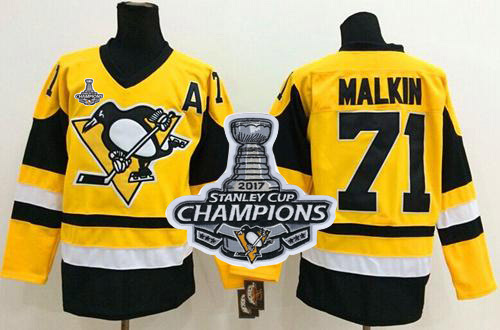 Penguins 71 Evgeni Malkin Yellow Throwback 2017 Stanley Cup Finals Champions Stitched Reebok Jersey