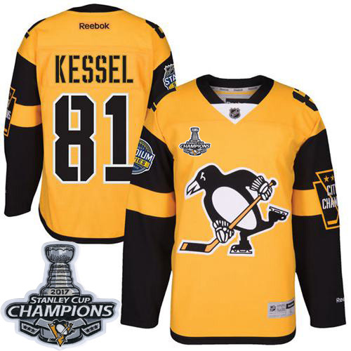 Penguins 81 Phil Kessel Gold 2017 Stadium Series Stanley Cup Finals Champions Stitched Reebok Jersey