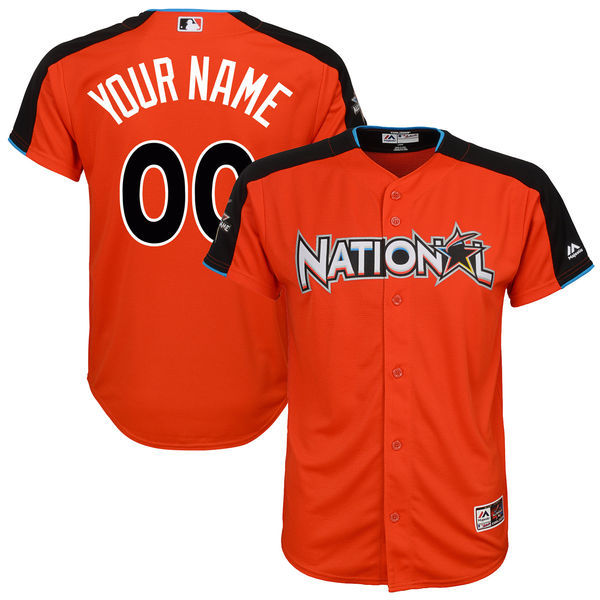 Youth National League Majestic Orange 2017 MLB All-Star Game Personalized Home Run Derby Jersey